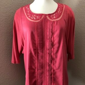 NEW Lauren Conrad Pleated Front Lacy Rose Blouse